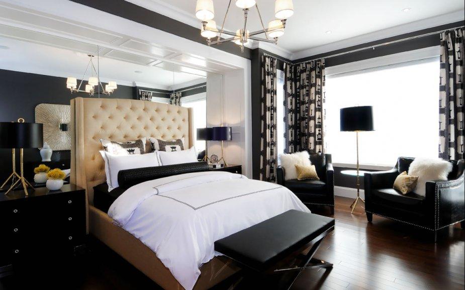 Chambre luxueuse noir et blanc