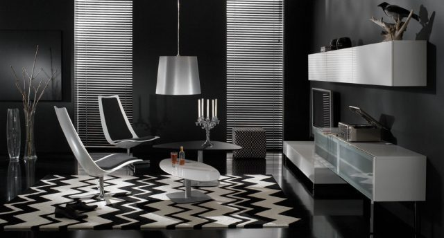 Salon chic et décontracté en noir et blanc