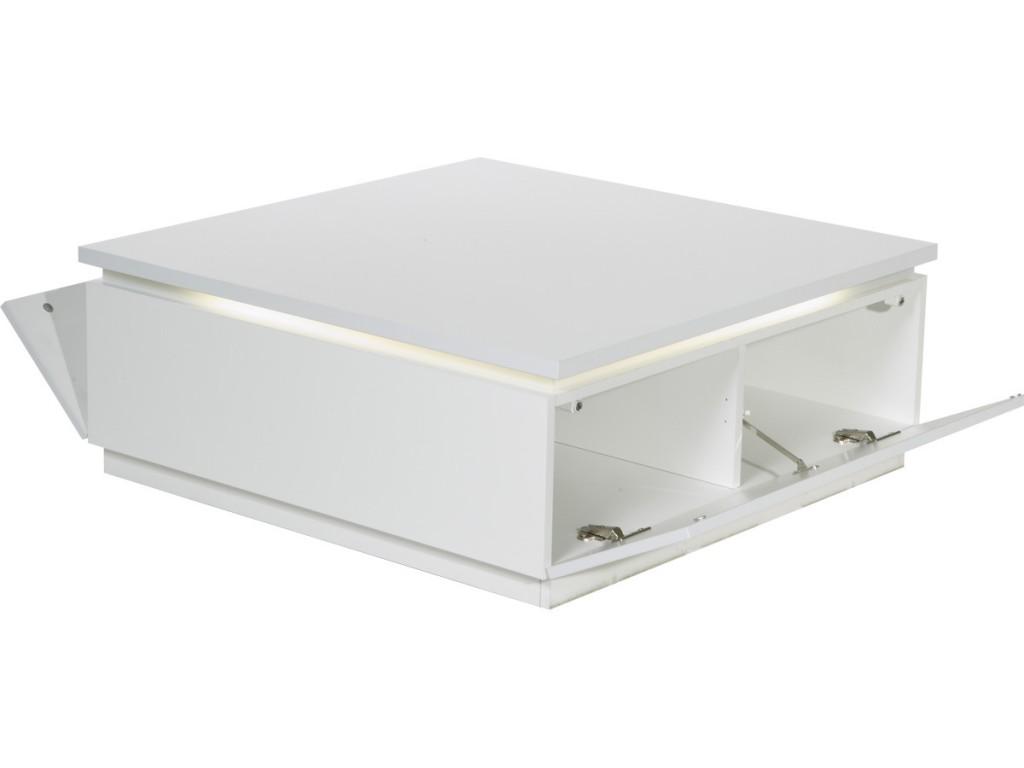 La table basse Electra, laqué blanc avec éclairage néon
