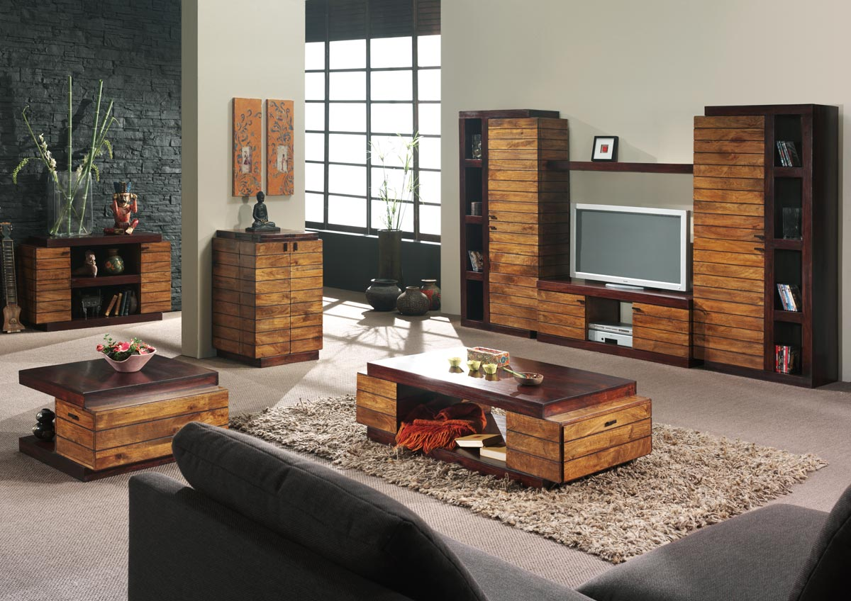 d coration salon meuble en bois. Black Bedroom Furniture Sets. Home Design Ideas