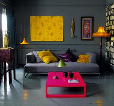 decoration-salon-couleur-gris-er-noir-et-couleur-flashy-fushia-jaune