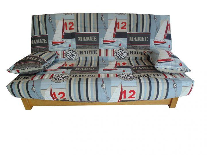 Housse matelassée pour banquette clic clac 130 x 190 voilier taupe rouge