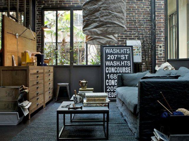 décoration industrielle dans le salon