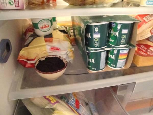 désodoriser le frigo avec du marc de café