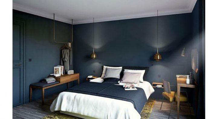 Des meubles sombres et les murs avec un ton plus clair